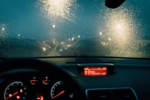 Rainy, foggy dashboard due to driving in the rain